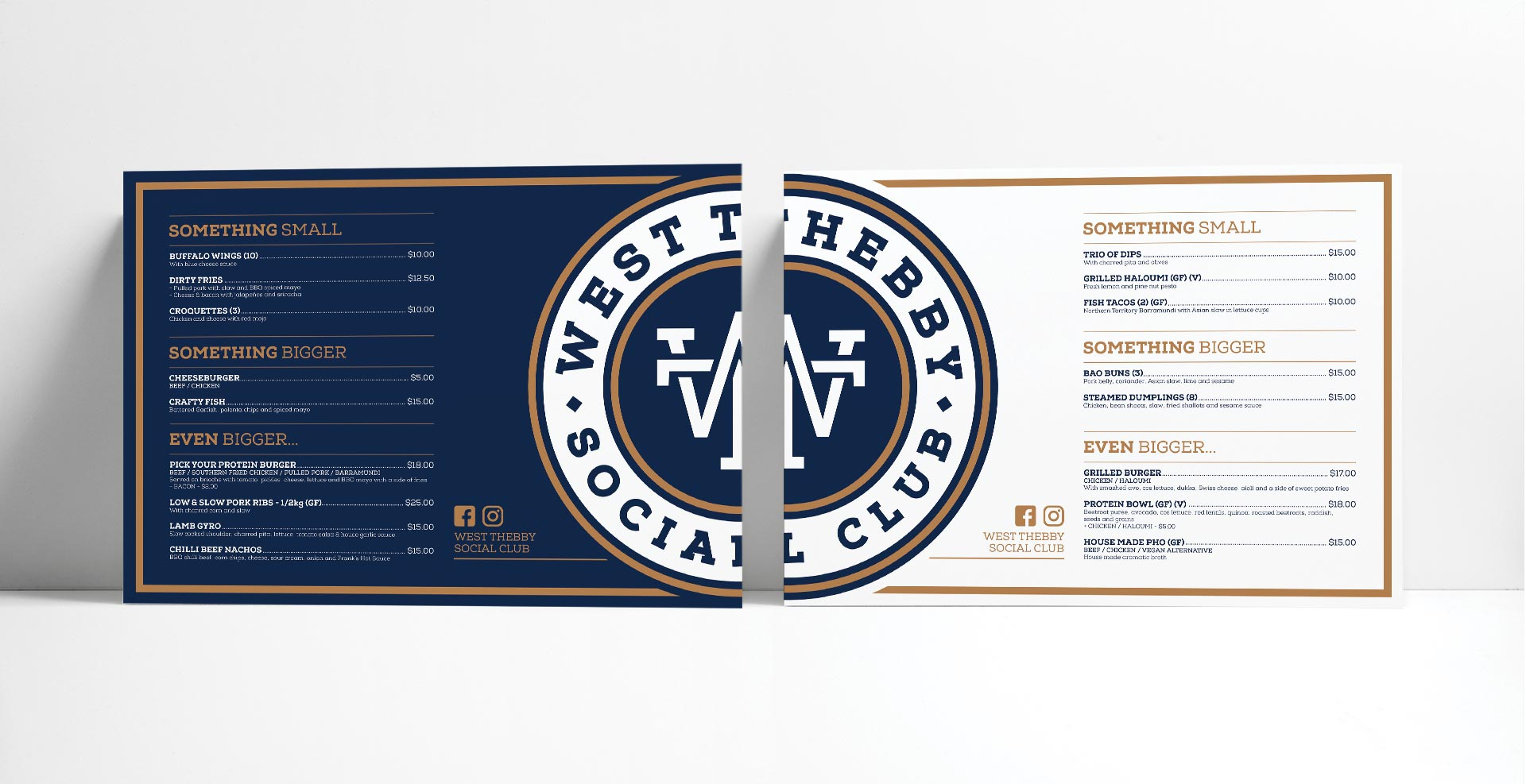 West Thebby Social Club Menu Design